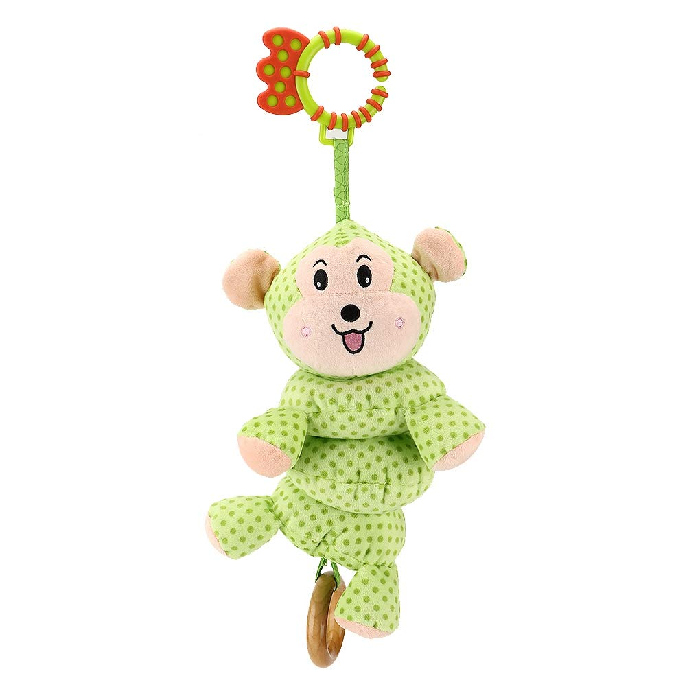 Baby Crib Mobile Infant Appease Toy Kids Electric Music Rotating Bed Bell Newborn Rattle Early Education Toys Cute Cartoon Animals Hanging Stroller Doll(Green)