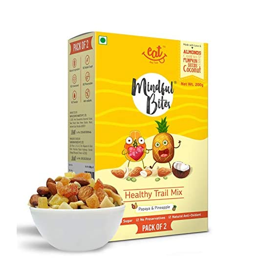 EAT Anytime Healthy Trail Mix with Papaya & Pineapple - Antioxidants, Tropical Fruits & Nuts, 200g (Pack of 2x100g)