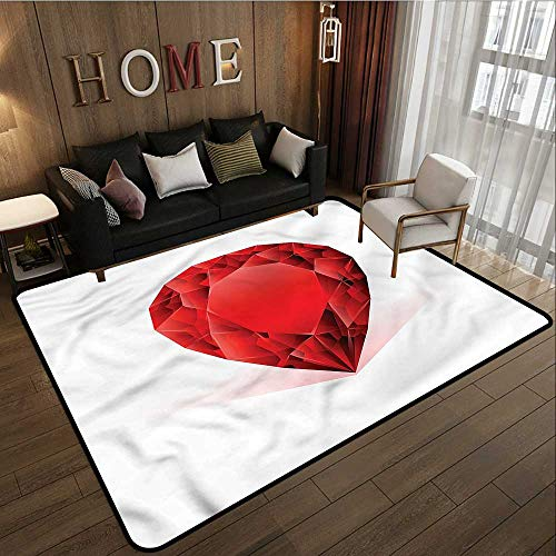 Non-Slip Rug Diamonds Pear Shaped Rhinestone Anti-Slip Doormat Footpad Machine Washable 3'3