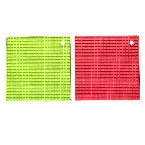2 Set Silicone Trivets Mats Hot Pads Silicone Square Pot holder Spoon Rests Set Hot Pan Mats Heat Insulation Table Mats(Red+Green)