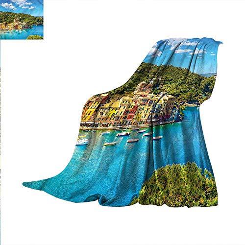 Italy Digital Printing Blanket Portofino Panoramic View Summer Quilt Comforter 70