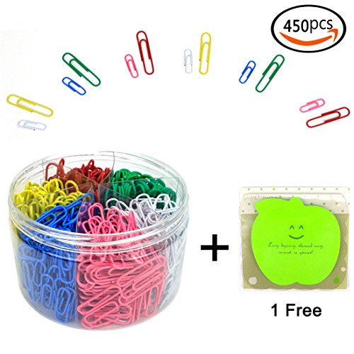 GemEwell 450 Pieces Assorted Color Paper Clips Office Clamps with Medium and Jumbo Size, (28 mm, 50 mm, with 1 Sticky Notes)