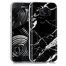 kwmobile Case for Samsung Galaxy S7 - TPU Silicone back cover case mobile phone protective case - Clear cover Design marble black white