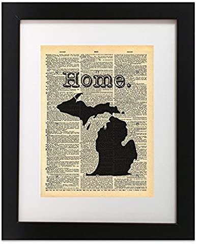 Michigan State Vintage Map Vintage Dictionary Print 8x10 inch Home Vintage Art Abstract Prints Wall Art for Home Decor Wall Decorations For Living Room Bedroom Office - Michigan Antique Map