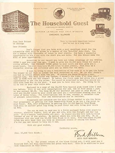 1920 1925 ? Ford Model T Household Guest Magazine Contest Free Car Letter from Ford