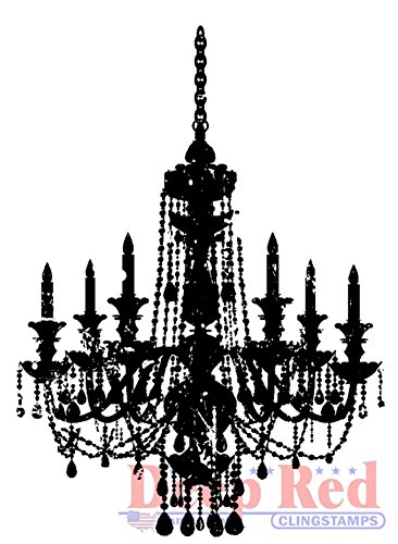 (Deep Red Stamps Chandelier Silhouette Rubber Stamp )
