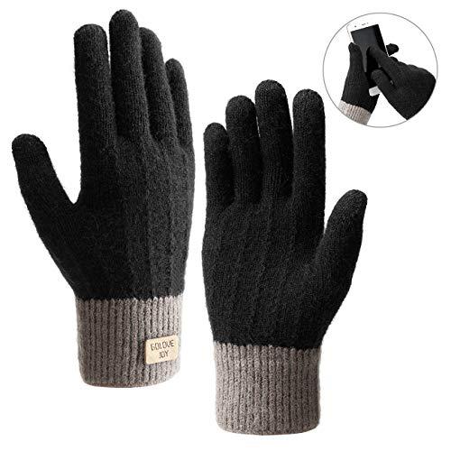 Winterhandschuhe Touchscreen Handschuhe Strick Fingerhandschuhe Sport Warm und Winddicht Winterhandschuhe für Skifahren Radfahren und SMS, Geeinget für Damen und Herren