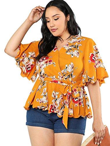 Romwe Women's Plus Size Floral Print Short Sleeve Belt Tie Peplum Wrap Blouse Top Shirts Yellow 0XL