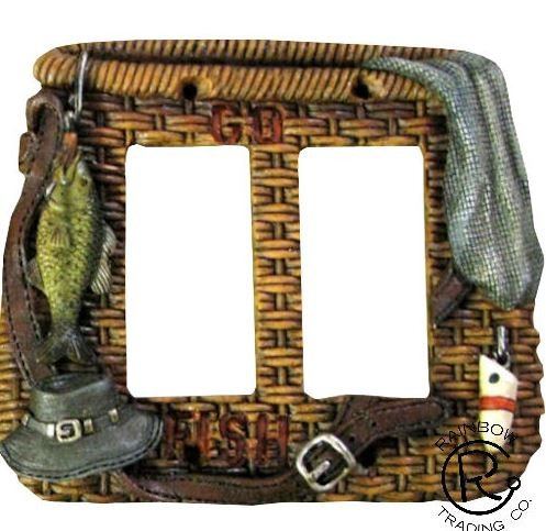 Fishing Light Switch Plate Outlet Covers Lodge Cabin Decoration Woven Pattern