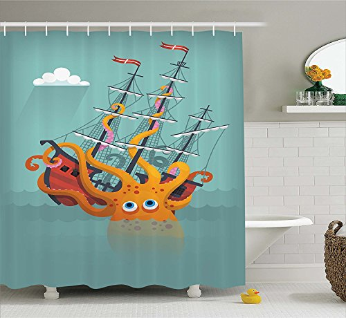 [Kraken Decor Shower Curtain Giant Squid Sinking a Pirate Boat into Ocean Anchor Ship Humor Kids Design Fabric Bathroom Decor Set with Hooks Orange] (Squid Costume Ebay)