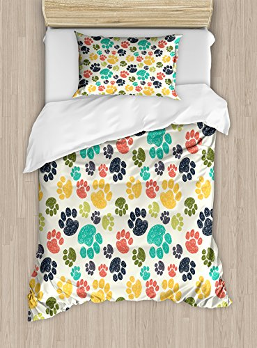 Doodle Duvet Cover (Ambesonne Dog Lover Duvet Cover Set, Hand Drawn Paw Print Doodles Circular Pattern Children Drawing Style Animal, Decorative 2 Piece Bedding Set with 1 Pillow Sham, Twin Size, Charcoal)