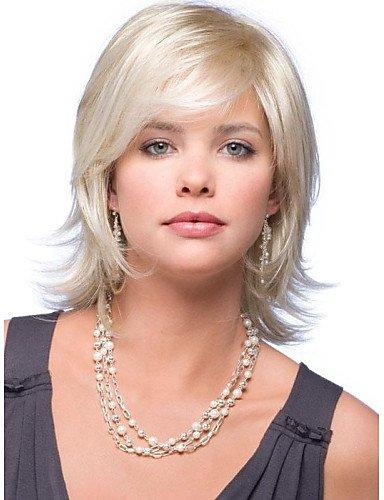 Mode pelucas wigstyle atractivo Oro páginas de cresta Kanekalon Mujeres Corto peluca