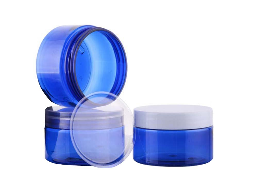 2pcs 100g (3.5oz)100ml Blue Mask Jar Bottes Cream Cosmetic Make up Empty Container with White Screw Top Cover and Inner Cap for Emulsion Hand Lotion and More erioctry