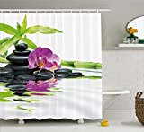 Ambesonne Spa Decor Shower Curtain, Asian Relaxation with Zen Massage Stones Purple Orchid and a Bamboo, Fabric Bathroom Decor Set with Hooks, 70 inches, Purple Black and Green
