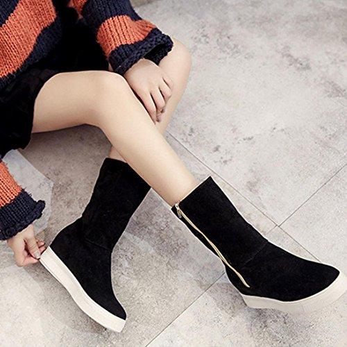 Tefamore Zapatos Mujer de ajustable Clásico Botas de Casual de Anti-deslizante de Suave Moda Otoño Invierno Negro
