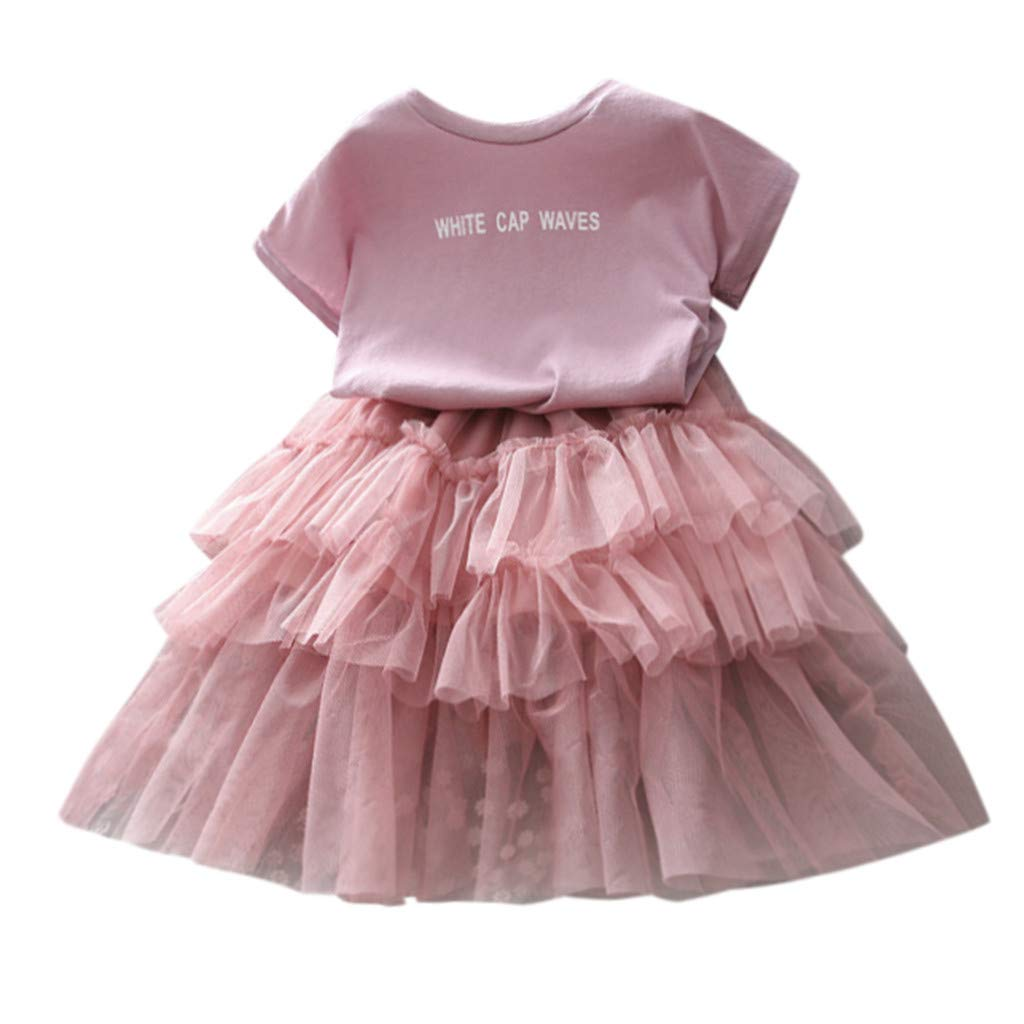 NUWFOR Toddler Kids Baby Girl Outfits Clothes Letter Print T-Shirt Tops+Tulle Skirt Set(Pink,2-3 Years) by NUWFOR (Image #3)