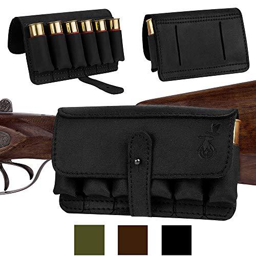BronzeDog Leather Cartridge Holder, Handmade Hunting Ammo Pouch Rifle Shell Holder, Leather Ammo Bag 12Ga Shotgun Shell Belt Carrier Case (Black 6 Slots)