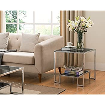 Chrome Finish / Black Tempered Glass Side End Table with Lower Shelf