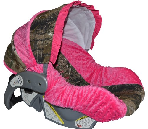 Infant-Car-Seat-Cover-Baby-Car-Seat-Cover-Slip-Cover-Camo-with-Fuschia-Minky
