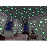 Silly 200pcs Home Wall Ceiling Glow in the Dark Stars Stickers Decal for Baby Kids Bedroom,Stars in same size