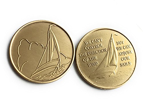 (Sailboat Set of 2 We Can't Control The Wind We Can Adjust Our Sails Powerless But Not Helpless Sailing Medallion)