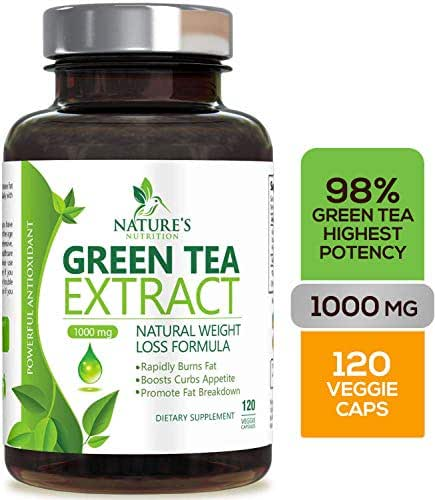 Green Tea Extract 98% Standardized with EGCG for Weight Loss 1000mg - Boost Metabolism for Healthy Heart - Antioxidants & Polyphenols - Gentle Caffeine, Fat Burner Pills, Made in USA - 120 Capsules