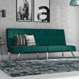 DHP Emily Futon Sofa Bed, Modern Couch, Green