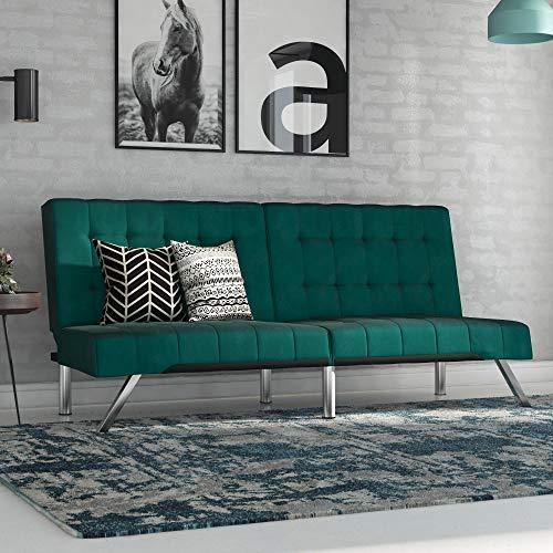 DHP Emily Futon Sofa Bed, Modern Couch, Green Velvet