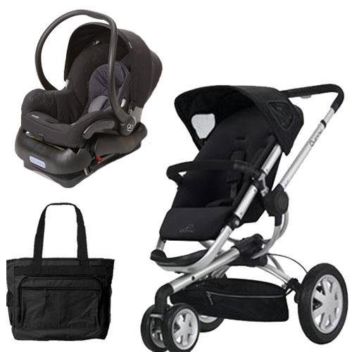 (Quinny BUZ3TRVSTM1 Buzz 3 Travel System in Black with Diaper Bag)