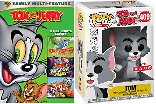 Mars Looney Tunes (Frenemy duo Cartoon Blast Tom and Jerry Animated - The Movie/ Blast Off to Mars/ The Fast and the Furry Triple Fun DVD + Hana-Barbera Tom Cat Exclusive Funko Figure)
