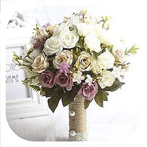mamamoo Bridal Bouquet European Chaise Longue Roses, Fake Flowers, Home Decoration, Emulation, Wedding Bouquet 78