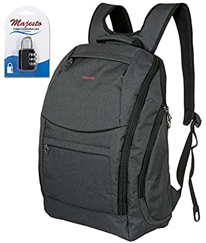 Business Laptop Backpack for 14 Inch Notebook for Travel and Commute with Bottle Holders and Lots of Pockets Water Resistant Small Padded Ergonomic Light Professional Black + Padlock (Notebook Mini Lapto)