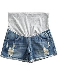 Women's Summer Adjustable Maternity Pregnant Denim Shorts