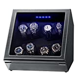 Watch Winder, Piano Finish Carbon Fiber Exterior and Soft Flexible Watch Pillows, 8 Winding Spaces with Built-in Illumination