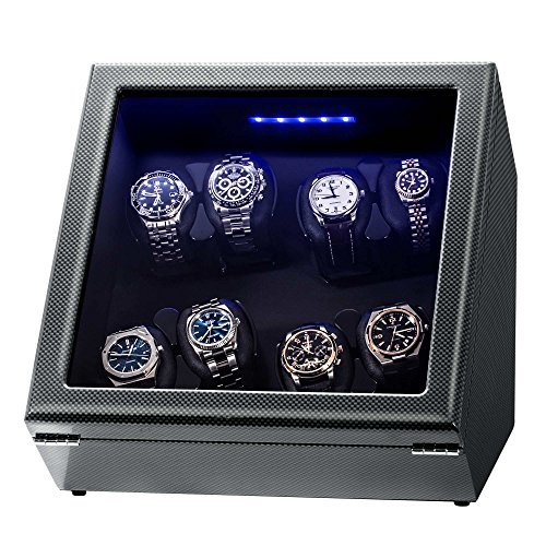 "Watch Winder, Piano Finish Carbon Fiber Exterior And Soft Flexible WatchPillows, Eight Winding Spaces(8+0) With Built-in Illumination, Wooden Shell, With""Open – Shut Off"" Function"