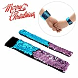 Mermaid Bracelet for Birthday Party Favors Christmas Gifts, Two-color Decorative Reversible Charm Sequins Slap Wristband Bracelet for Kids,Girls,Boys,Women (A(2 Pack), Blue-Pink)