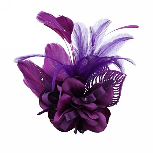Large Flower Pin - Song Fascinator Feather Flower Hair Clip Pin Brooch Corsage Bridal Hairband Party Wedding for Women (Purple)