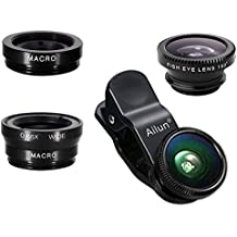 iPhone Lens,by Ailun,3 in 1 Clip On 180 Degree Fish Eye Lens+0.65X Wide Angle+10X Macro Lens,Universal HD Camera...