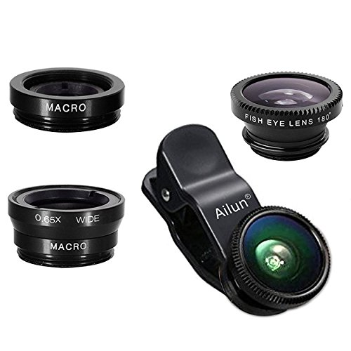 Cheap Lens Attachments iPhone Lens,by Ailun,3 in 1 Clip On 180 Degree Fish Eye Lens+0.65X..