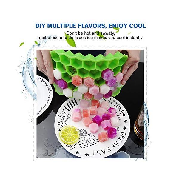 Vaschette per cubetti di ghiaccio con coperchio, 37 cubetti di ghiaccio con coperchio rimovibile, in gel flessibile e… 5 spesavip
