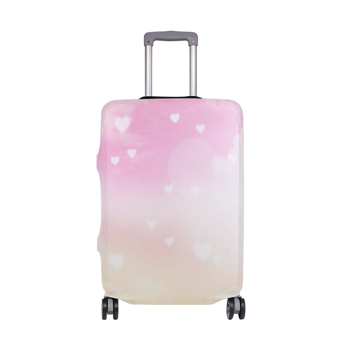 ALAZA Hearts Clouds Valentine's Day Wedding Luggage Cover Fits 28-29 Inch Suitcase Spandex Travel Protector L