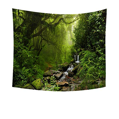 charmsamx Misty Forest Tapestry Fairy Tales Tapestry Natural Landscape Tapestry Psychedelic Forest Tree Flower Stream Wall Hanging Tapestries for Halloween Bedroom Living Room Dorm