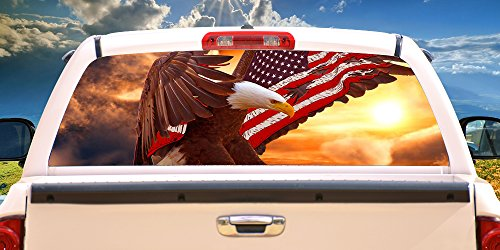 Truck Decals Graphics - SignMission Bald Eagle Flag Rear Window Graphic Truck View Thru Vinyl Decal, 22