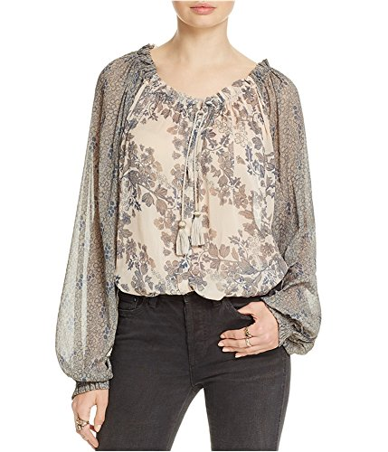 Free People Womens Printed Long Sleeves Casual Top Ivory S by Free People