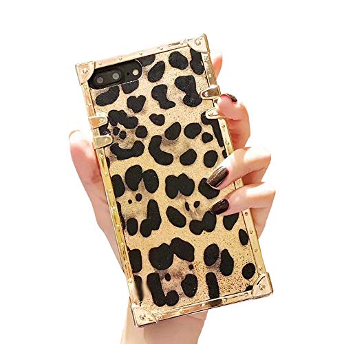 Square Leopard Case for iPhone 7 Plus 8 Plus 5.5'' Luxury Shining Cover with Lanyard Flexible Shockproof Trunk Back Shell (Leopard Gold, iPhone 7Plus/8Plus 5.5'')