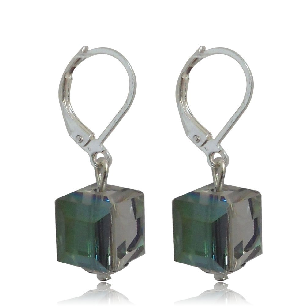 10MM Sterling Silver Plated Dark Green Gradient Square Faceted Crystal Glass Dangle Leverback Earrings