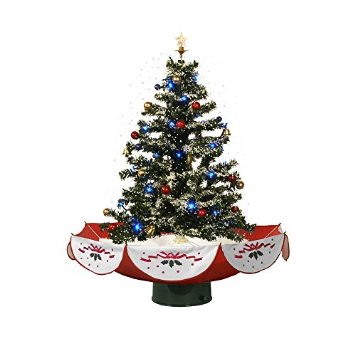 Indoor Christmas Tree Top Star Colorful Ornaments Snowing Christmas Tree by Red House