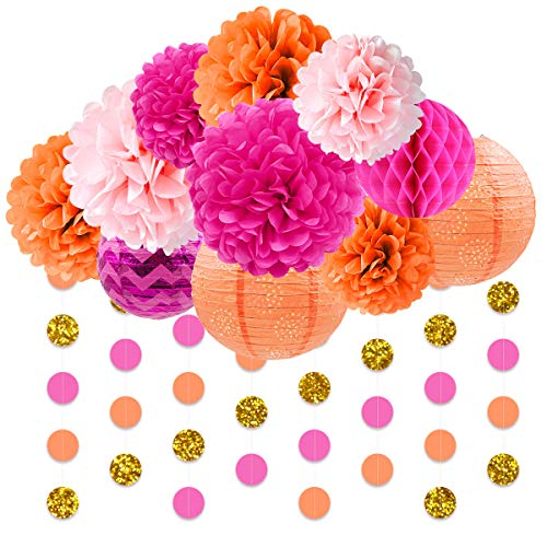 NICROLANDEE Pink and Orange Birthday Decorations Pack Paper Lanterns Tissue Flower Poms Gold Glitter Garland for Flamingo Bachelorette Party Wedding Baby Shower Fiesta Holiday Festival Decor