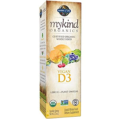 Garden of Life mykind Organic D3 Vitamin - Vegan Whole Food Supplement with Plant Omegas, Vanilla, 2oz Liquid