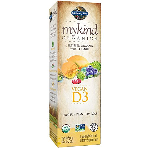 Garden of Life D3 Vitamin - mykind Organic Whole Food Vitamin D Supplement with Plant Omegas, Vegan, Vanilla, 2oz Liquid Spray